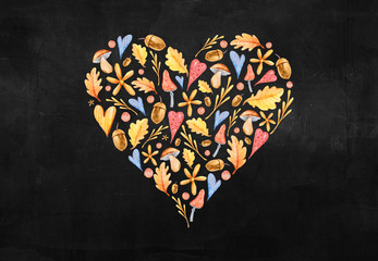 Hand painted watercolor cute autumn clipart in shape of heart on chalk board. Lovely baby...