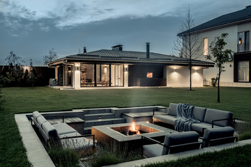 Modern estate with house and spa building
