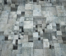Abstract cubic concrete building wall. Architecture background. 3d render Illustration