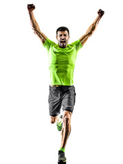 man runner running jogger jogging happy isolated silhouette white background