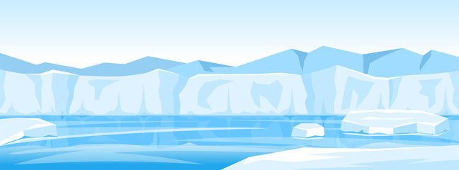 Poster Bleu clair winter arctic ice landscape