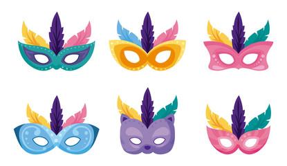 Isolated mardi gras masks set vector design