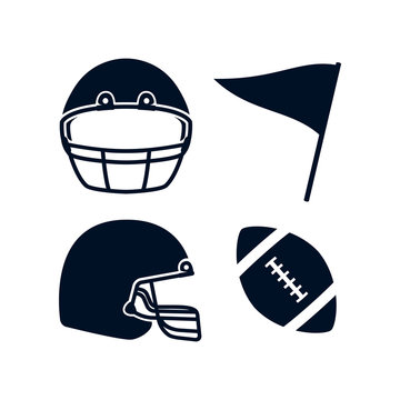 American football rugby helmet front and side view, flag, rugby ball illustration simple icon black color set