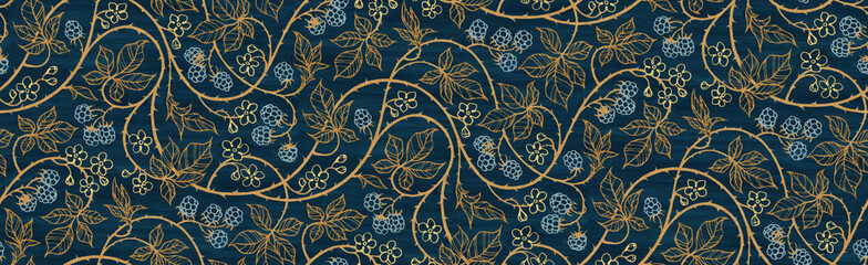 Floral botanical blackberry vines seamless repeating wallpaper pattern- rich gold and royal blue version