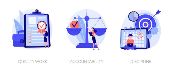 Task and project management icons set. Leadership, career goals and perspectives. Quality work, accountability, discipline metaphors. Vector isolated concept metaphor illustrations. Wall mural