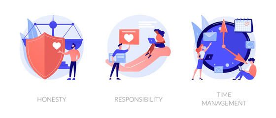 Personal and professional skills icons set. Honesty, responsibility, time management metaphors. Personnel training, employee coaching. Vector isolated concept metaphor illustrations.