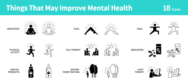 Things that may improve mental health icon set, 18 icons