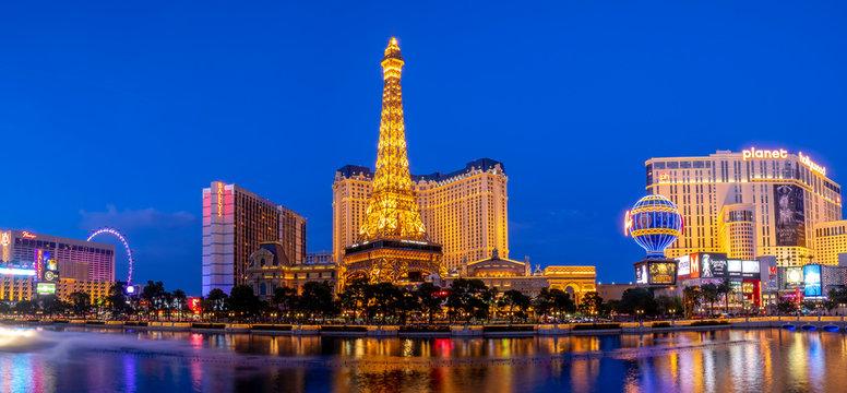 Downtown, Las Vegas Strip at night on June 5, 2018. Landmarks, Paris Hotel-Casino, fountains, Eiffel Tower.