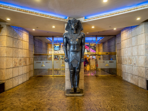 Las Vegas, Nevada / USA - June 9, 2018: Interior details of the famous Luxor Hotel on Las Vegas Strip. The Luxor is an amazing pyramid hotel, which hosts the Chris Angel show.