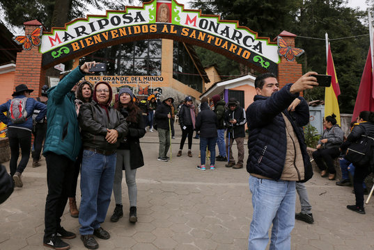 Visitors take selfies at El Rosario sanctuary for monarch butterflies in the western state of Michoacan, near Ocampo