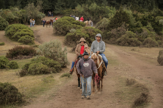 Visitors ride horses at El Rosario sanctuary for monarch butterflies in the western state of Michoacan, near Ocampo