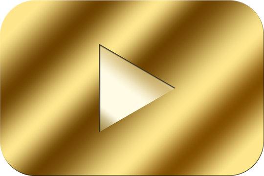 金属っぽい見た目の、金色のユーチューブの再生ボタン(アイコン)!ユーチューブ動画の豪華な金の再生ボタンとして利用出来ます♪奇麗(美しい)なグラデーション♪