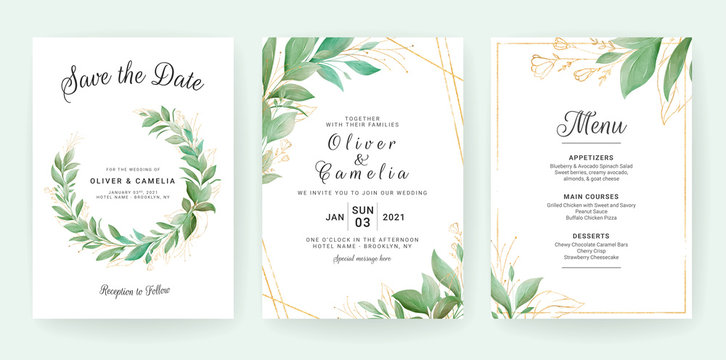 Greenery wedding invitation card template set with leaves wreath and border. Flowers decoration for save the date, greeting, poster, cover, etc. Botanic illustration vector