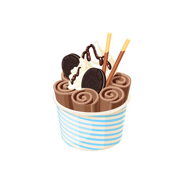 Basket of stir fried chocolate ice cream rolls under chocolate topping and whipped cream decorated with cookies. Vector illustration cartoon flat icon isolated on white.