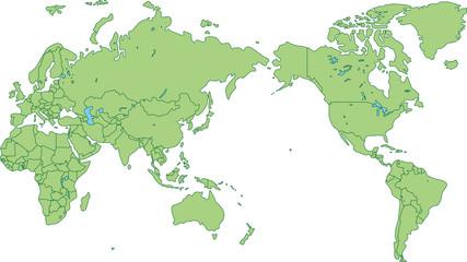 世界地図_各国ごとに色を変えられます Fototapete