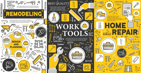 House remodeling and construction repair work tools, home renovation service posters. Vector handyman carpentry, masonry and woodwork hand tools, drill and saw, paint, construction hammer and ruler