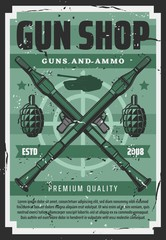 Military guns and wartime artillery shotguns equipment shop retro poster. Vector personal defense and shooting range professional ammunition, tank and mine-thrower mortar, cannonry grenades and rifles
