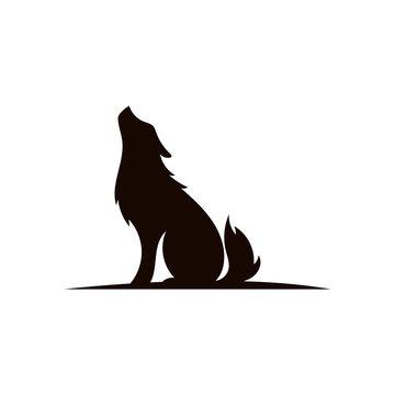 wolf on hill logo design,silhouette,element for vintage logo.conceptual illustrator vector.
