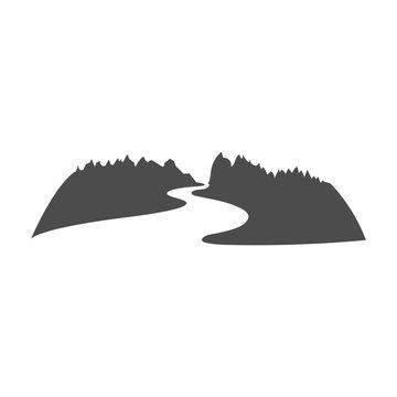 Mountain River Logo design in negative space vector illustration.