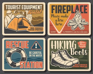 Camping and hiking tourist equipment shop and outdoor sport outfit garments, vintage posters. Vector water rescue station sign, mountain tourism and mountain trekking boots, tent and backpack