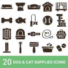 商品アイコン 犬用品 猫用品 手書き 20セット