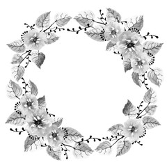 Decorative black and white watercolor wreath of leaves, wildflowers and branches on a white background. Autumn wreath for design cards, wedding invitations with free space for your text