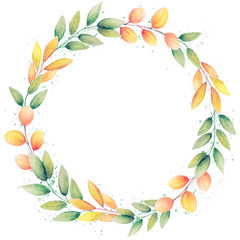 Decorative watercolor wreath of leaves on a white background. Autumn wreath for design cards, wedding invitations with free space for your text