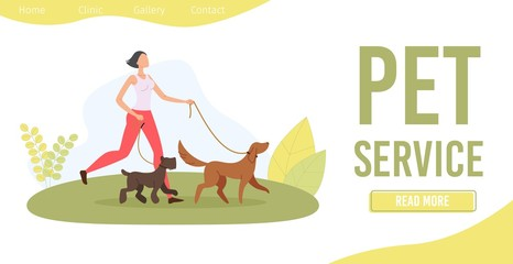 Dog Walker Service Trendy Flat Vector Web Banner, Landing Page Template. Young Woman, Teenager Girl or Student, Female Professional Walker Walking with Terrier and Retriever on Leash Illustration