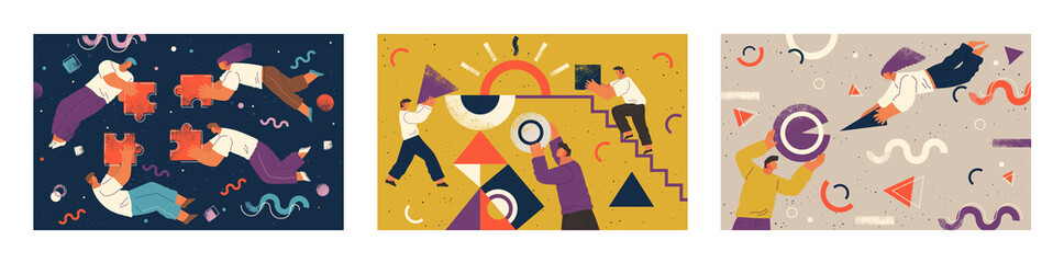 Set of three pictures about cooperation. Teamwork of people that completing puzzle or supporting each other. Geometric ornaments and shapes on poster. Vector illustration of team in flat style