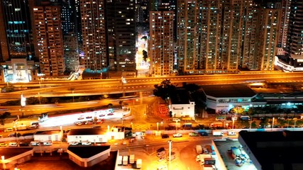 Fotomurales - Aerial view of city at night - Hong Kong
