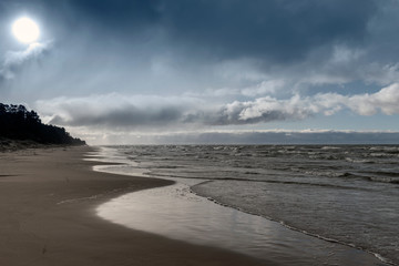 Fototapete - Baltic sea coast in windy day.