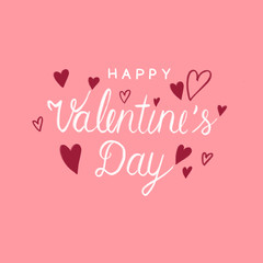 Happy valentine's day illustration greeting card banner, White Valentine hand lettering, calligraphy style and red heart shape on pink watercolor background, love sign