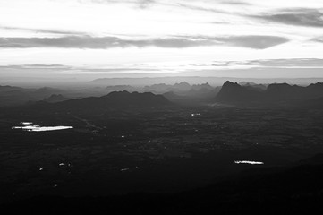 Beautiful Asian limestone mountain landscape in black and white at Pha Nok An cliff in Phu Kradueng National park. Loei - Thailand