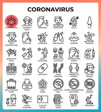 Coronavirus concept line icons