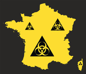 France map with biohazard virus sign illustration in black and yellow