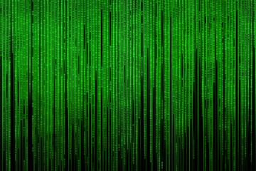 The matrix is binary. Simulation of binary computer code. Virtual reality. Binary code, green, isolated on black. Illustration.
