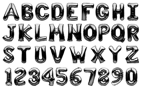 English alphabet and numbers made of metallic black inflatable helium balloons isolated on white. Black silver foil balloon font, full alphabet set of upper case letters and numbers.
