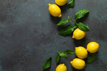 Fresh lemons with leaves, summer citrus lemonade ingredient