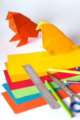 origami bird made of colored paper