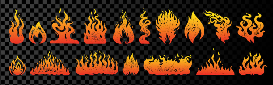 Set of flame and fire in vintage style. Hand drawn engraved monochrome bonfire or burn sketch. Vector illustration for posters, banners and logo.