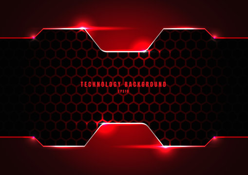 Abstract black and red metallic frame with lighting on hexagons texture pattern technology innovation concept background.
