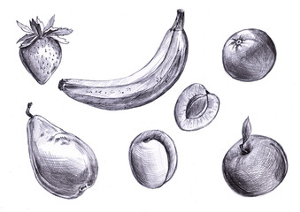 Set of pencil drawn fruits, banana, pear, apricot, strawberry, apple. Freehand drawing. illustration for package design, eco natural, detox food.