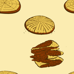 Seamless pattern of sketched Himbasha bread