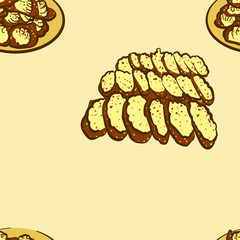 Seamless pattern of sketched Khanom bueang bread