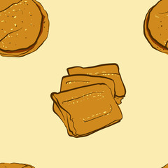 Seamless pattern of sketched Kisra bread