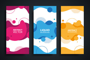 Flyers set with abstract modern liquid forms and shapes, circles and dotted patterns. Fluid flat color design elements collection. Vector illustration.