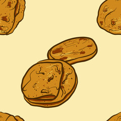 Seamless pattern of sketched Kulcha bread