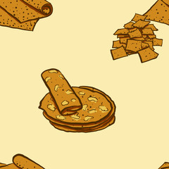 Seamless pattern of sketched Lavash bread