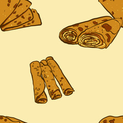 Seamless pattern of sketched Lefse bread