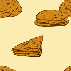 Seamless pattern of sketched Markook bread